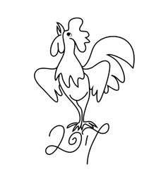 Rooster black line art sketch of cock vector