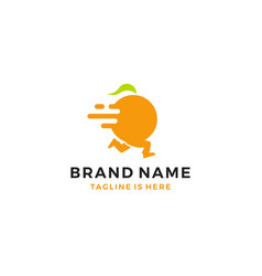 running orange fruit delivery service logo vector image