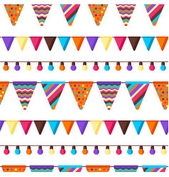 seamless pattern with garland flags vector image