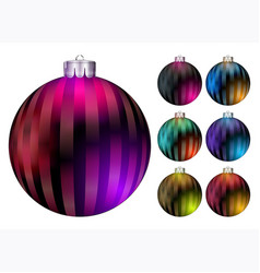 set christmas balls realistic colorful xmas vector image