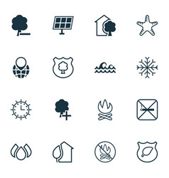 Set of 16 eco icons includes insert woods vector