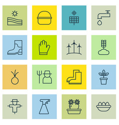 Set of 16 holticulture icons includes floweret vector