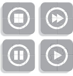 Set of different puzzle media icons vector