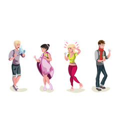set of sick people cartoon style vector image