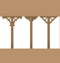 Set of vintage wooden columns vector