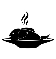 Silhouette monochrome dish with hot fish vector