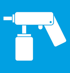 Spray aerosol can bottle with a nozzle icon white vector