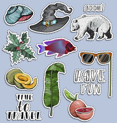 stickers set exotic objects travel concept vector image