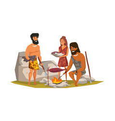 Stone age people frying meat vector