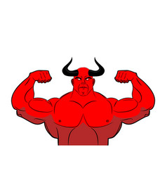 Strong demon with horns powerful red devil satan vector