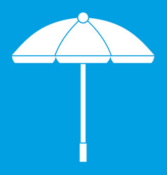 Sun umbrella icon white vector