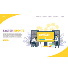 system update website landing page design vector image