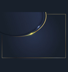 Template gold curve line frame blue background vector