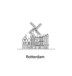 The city of rotterdam european houses vector