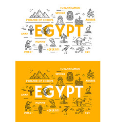 Thin line egypt travel and culture landmarks vector