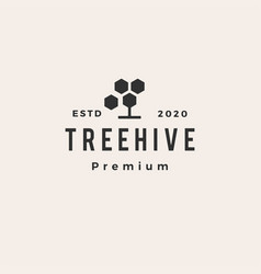 tree hive hexagon hipster vintage logo icon vector image