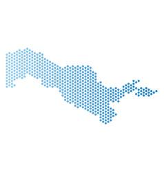 Uzbekistan map hex tile scheme vector