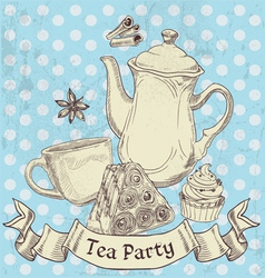 Vintage grunge banner sweets and tea - tea party vector