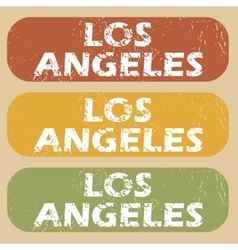 Vintage Los Angeles stamp set vector image