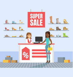 woman choosing and buying shoes in store shoes vector image