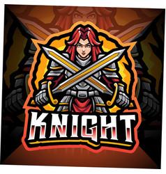 Women knight esport mascot logo design vector