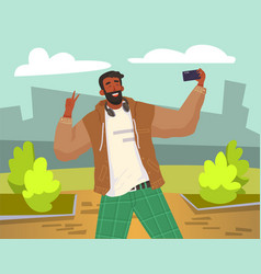 young guy is doing live streaming in street man vector image
