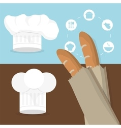 breakfast baguettes hat chef tasty flyer vector image