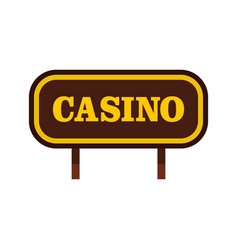 casino signboard icon flat style vector image