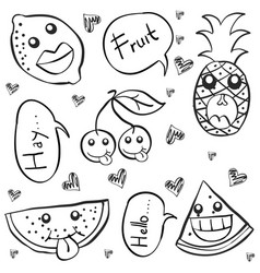 Collection stock fruit hand draw doodles vector