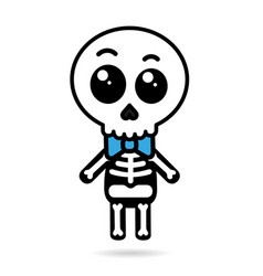 cute kawaii boy skeleton isolated halloween vector image vector image