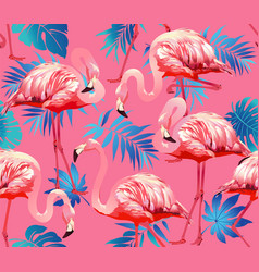 flamingo bird and tropical flowers background - vector image vector image