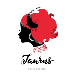 Taurus zodiac sign Beautiful girl silhouette vector image vector image