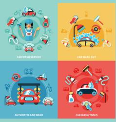 car wash compositions set vector image