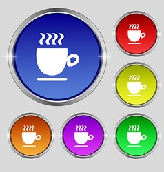 Coffee cup sign Round symbol on bright colourful vector image vector image