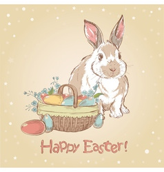 Easter retro card with cute hand drawn bunny vector image vector image