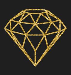 geometrical golden glitter diamond isolated on vector image