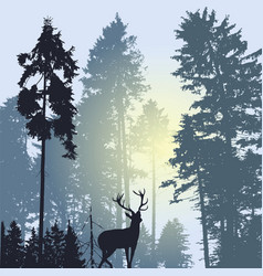 landscape with silhouette of forest trees and deer vector image vector image