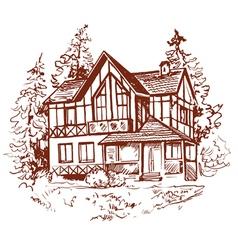 sketch of house prewew vector image