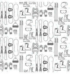 Ski and snowboard line equipment seamless pattern vector image
