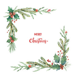 Watercolor christmas decorative corner with vector