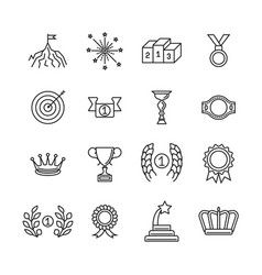 awards line icons success and winning vector image