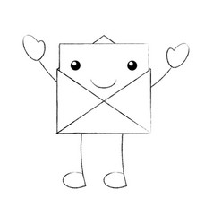 cartoon open envelope message mail vector image