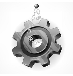 Gear with chain on white vector image vector image