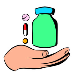 hand with vitamins and medication icon vector image