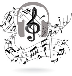 Musical background with headphones vector image vector image