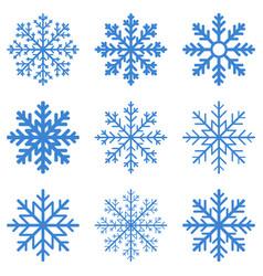 set blue winter snowflake vector image