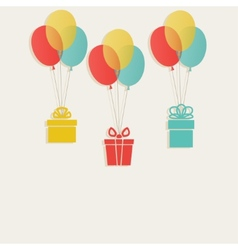 gifts with colored balloons vector image vector image