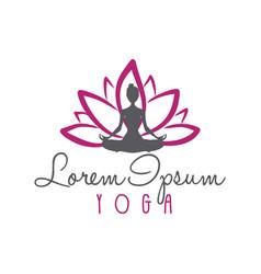 lotus flower woman silhouette yoga logo vector image vector image