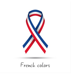 modern colored ribbon with the french tricolor vector image vector image