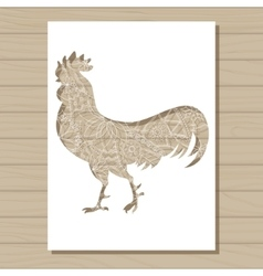 stencil template of cock on wooden background vector image vector image